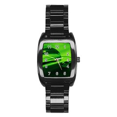 Green Drop Men s Stainless Steel Barrel Analog Watch