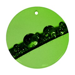 Green Drops Round Ornament