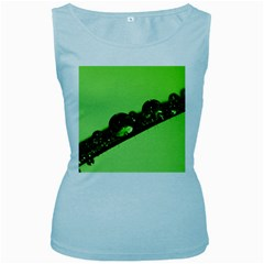Green Drops Womens  Tank Top (baby Blue)