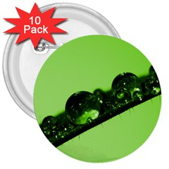 Green Drops 3  Button (10 pack)
