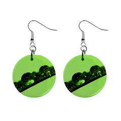 Green Drops Mini Button Earrings