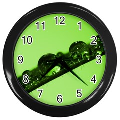 Green Drops Wall Clock (Black)