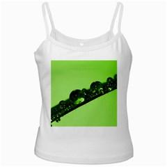 Green Drops White Spaghetti Top