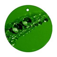 Green Drops Round Ornament
