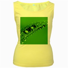 Green Drops Womens  Tank Top (Yellow)