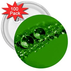 Green Drops 3  Button (100 pack)