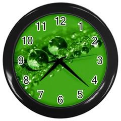 Green Drops Wall Clock (Black)
