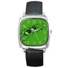 Green Drops Square Leather Watch