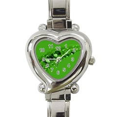 Green Drops Heart Italian Charm Watch