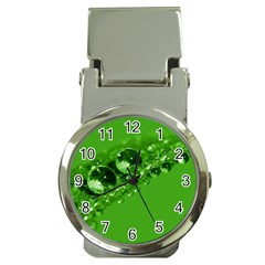Green Drops Money Clip With Watch