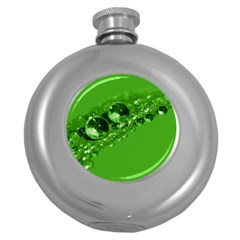 Green Drops Hip Flask (round)