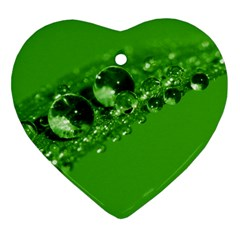 Green Drops Heart Ornament (two Sides)