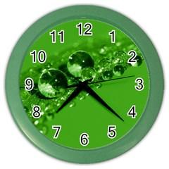 Green Drops Wall Clock (color)