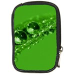 Green Drops Compact Camera Leather Case Front