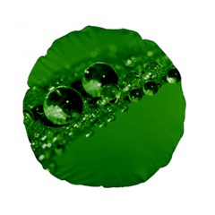 Green Drops 15  Premium Round Cushion