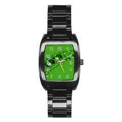 Green Drops Men s Stainless Steel Barrel Analog Watch