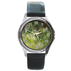 Drops Round Metal Watch (silver Rim)