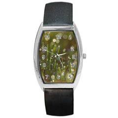 Waterdrops Tonneau Leather Watch