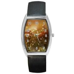 Waterdrops Tonneau Leather Watch
