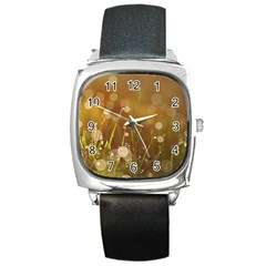 Waterdrops Square Leather Watch