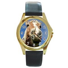 Haflinger  Round Metal Watch (gold Rim)
