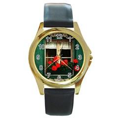 Window Round Metal Watch (Gold Rim)