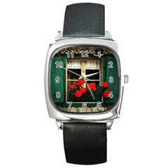 Window Square Leather Watch