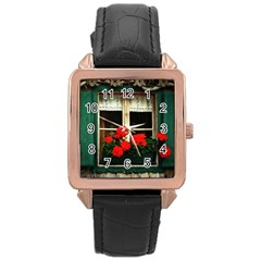 Window Rose Gold Leather Watch
