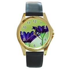 Osterspermum Round Metal Watch (gold Rim)