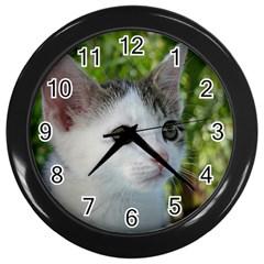 Young Cat Wall Clock (Black)