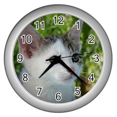 Young Cat Wall Clock (Silver)