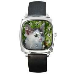 Young Cat Square Leather Watch