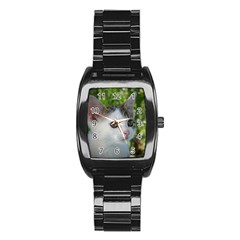 Young Cat Men s Stainless Steel Barrel Analog Watch