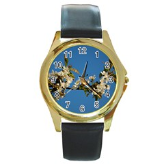 Cherry Blossom Round Metal Watch (Gold Rim)