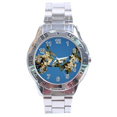 Cherry Blossom Stainless Steel Watch (men s)