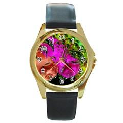 Tubules Round Metal Watch (Gold Rim)