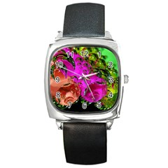 Tubules Square Leather Watch