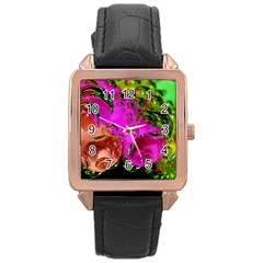 Tubules Rose Gold Leather Watch