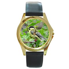 Songbird Round Metal Watch (Gold Rim)