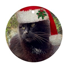 Christmas Kitty Round Ornament (two Sides)