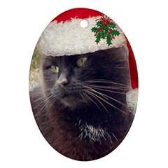 Christmas Kitty Oval Ornament (two Sides)