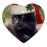 CHRISTMAS KITTY Heart Ornament (Two Sides) Front