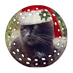 Christmas Kitty Round Filigree Ornament (two Sides)