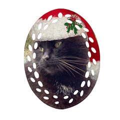 Christmas Kitty Oval Filigree Ornament (two Sides)
