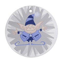 Blue Christmas Elf Round Ornament