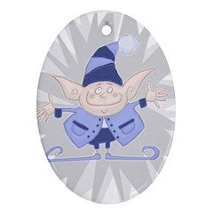 Blue Christmas Elf Oval Ornament (Two Sides)