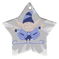 Blue Christmas Elf Star Ornament (two Sides)