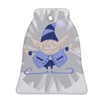 Blue Christmas Elf Bell Ornament Front