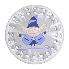 Blue Christmas Elf Round Filigree Ornament (two Sides)