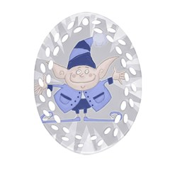 Blue Christmas Elf Ornament (Oval Filigree)